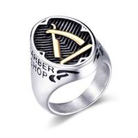 Cluster Ringe Qmhje Barber Messer Männer Edelstahl Signet Hip Hop Ring Männchen Schmuck Silber Farbe Gold Schwarz Gothic Punk DCR002