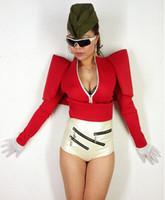 2016 새로운 스타일 섹시한 패션 스타 케이프 슬림 허리 화이트 레드 블랙 탑 의상 여성 가수 탑 무대 DJ Bodysuit1 착용