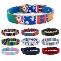 Collare per cani moda canvas colorato stampa cani collari regolabile pin fibbia per cani collari anelli forniture per animali domestici all'ingrosso