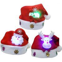 Noel Süslemeleri ZXZ 1 * Kırmızı Şapka Noel Baba Aydınlık Şapka Dekor Cap Çocuk Yıl Hediyeleri için Claus Snowman Elk Party1