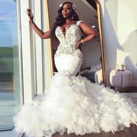 아프리카 인어 웨딩 드레스 2021 Sweetheart 푸릇 로얄 기차 블랙 신부 드레스 구슬 정식 신부 가운 플러스 사이즈 미인