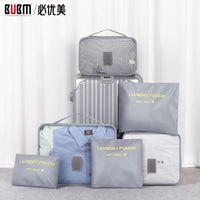 Bubm Six Sets Packung Cubes Tasche Reisetasche Reise Taschen Gepäckkleidung, die Tasche Organizer für Männer Frauen T200710 empfangen