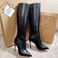 Stivali piattaforma di modo di lusso del progettista del cuoio Stivaletti per le donne Nero / camoscio rosso inferiore Shors Thin Heel Cavaliere del motociclo in pelle di mucca