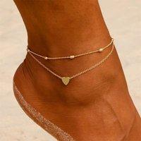 Anklets Fashion Summer Beach Women Heart Barefoot Gochet Sandals Joyería de pie Dos Piernas Pulsera Regalo1