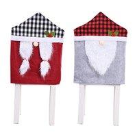 Noel Sandalye Ekose Gnome Noel Sırt Kapaklar Yılbaşı Tatili Parti Festivali Dekorasyon JK2010PH Malzemeleri