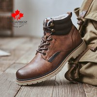 DECARSDZ Sıcak Kısa peluş Kış Çizme ayakkabı erkekler Sonbahar Erkek Botları Erkekler Kış Ayakkabı Rahat Dantel-up tasarım Erkekler Kar Boots 201026