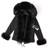 maomaokong Negro de piel de zorro cuello de invierno las mujeres capa de la chaqueta Natural conejito de los abrigos de pieles chaqueta forrada 201026