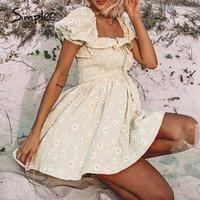 Simple Floral Print Женское платье Летнее Случае Рукав Rufhed Ruffled Платье Улица Пляж А в Леди Женщины Вестидос1