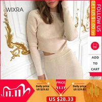 Vestido de tejido Wixra dos jugadas para mujer de la calle principal de manga larga con capucha Slim Fit + media pantorrilla del Knit de la falda Traje otoño invierno