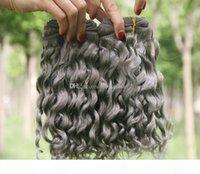 슬리버 그레이 딥 웨이브 인간의 머리카락 번들 페루 버진 헤어 확장 원시 인도 깊은 곱슬 3 번들 거래