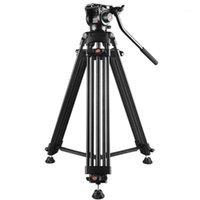 Tripés do tripé de alumínio da liga de alumínio da filmadora de vídeo pesada profissional com a cabeça do arrasto do fluido para a altura da câmera de DSLR / SLR: 80-160cm1