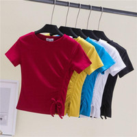 6 Colot Cotton T Shirt Donne Estate Sexy T Shirt Sexy T-shirt rotonda Manica corta Pieghette T-shirt Tops Ladies Moda Donna Tshirt1