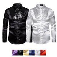 TUXEDO DE Partido Formal Camisetas Slim Ball Wedding Silver Silver Satin Manga larga Vestido Camisas Hombres Otoño Ropa Tops Camisa de lentejuelas