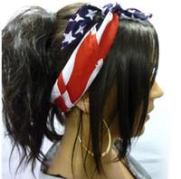 العلم الأمريكي عقال النساء الشعر العصابة النجوم الأمريكية والمشارب الولايات المتحدة الأمريكية العلم باندانا الرجال الشعر headwrap 51x51cm 9511