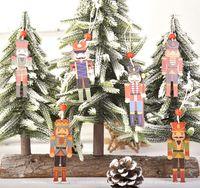 Рождественские украшения творческие картины прекрасные ореховые солдаты шпагат красочные деревянные елочные украшения небольшой кулон подарки GGB2293