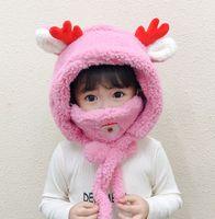 أطفال دافئ لطيف وشاح الكرتون الطفل قبعة قناع نحدد طفل الرضيع الخريف الشتاء المخملية قبعات سانتا الغزلان عيد ميلاد سعيد هدية للأطفال 2020