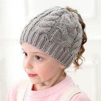 Casquettes chapeaux noués chapeau de queue de cheval pour filles pour enfants Hiver Cap Toddler Bonnet Bonnet chaud Soft Horses H196S