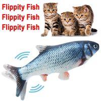 Heißes Umlauffischkatze Spielzeug Realistische Plüsch Electric Flipping Puppe Lustige interaktive Haustiere Kau-Biss-Floppy-Spielzeug perfekt für Kitty-Übung