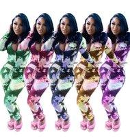 النساء التعادل صبغ التمويه المطبوعة رياضية طويلة الأكمام سستة البلوز + طماق السراويل اثنين من قطعة ملابس البدلة عداء ببطء الرياضية E122309