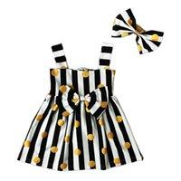 Установки одежды Детские милые летние стиль рожденного дня рождения платья принцессы для девочек одежда на полоску точка без рукавов платье + оголовье в