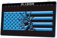 LS2349 Estátua da liberdade estrelas e listras bandeira 3d gravura LED sinal de luz 9 cores Atacado de varejo livre design