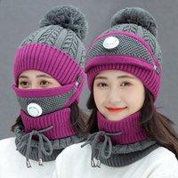 Женщины Теплая шерсть Шапочки Skullies Шляпы с маской Воротник 3шт / набор трикотажные шапки зимой на открытом воздухе Велоспорт Hat Cap Женский DDA790