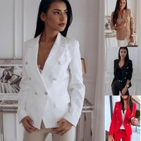 Женская Blazer Металл Двойной Брестед костюм Костюм офиса куртки Работа офиса Lady Blazer пальто Плюс Размер Белый Корейский