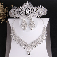 Beaching Luxury Crystal Beads Nupcial Jóias Conjuntos de Rhinestone Tiaras Crown Colar Brincos Casamento Africano Grânulos Jóias Conjunto