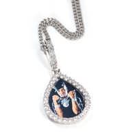 Wasser-Tropfen Schmuck Hip Hop-Männer Photo Frame Design-Anhänger-Halskette Glänzende Zircons Gold Silber überzogene Schmucksachen
