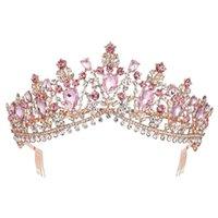 KMVEXO EUROPEO Múltiples colores Cristal Tiaras Reina Novia Coronas con peine Bridal Boda Moda para el cabello Accesorios 2019 T200110