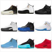 Entrenadores Zapatos de baloncesto para hombre 12 12s Universidad de índigo Juegos de gripe inversa negro Black Dark Concord Taxi Gym Gym Zapatillas deportivas rojas Tamaño 7-13