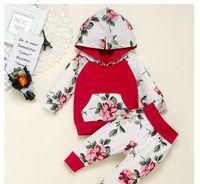 طفل الفتيات الأحمر الملابس مجموعة هوديي تتسابق طفل طويل الأكمام قمم + زهرة بانت مجموعة ملابس الاطفال مصمم