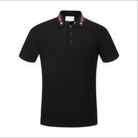 Verão 18SS Designers Tag Snake Imprimir Roupas Homens Tecido Letra Polo G T-shirt Collar Mulheres Casuais Tshirt Tshirt Tops G302