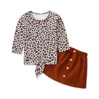 INS leopard girls suits sweet girls outfits long sleeve T sh...