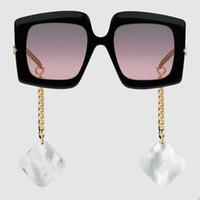 فريدة من نوعها الأسود إطار عدسة الحمراء امرأة القرط أزياء النظارات الشمسية الكلاسيكية 0722S النظارات لوحة البولي إطار مربع 0722 النظارات الشمسية مربع مجانا