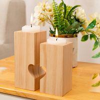 День святого Валентина творческий сердечный деревянный подсвечник стола романтические украшения канделябрума домой вечеринка чай держатель свечи T9i00962