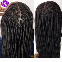 200DENDIENDO Full Black Box trenzas Peluca Free Parte Brasileño Full Lace Front Wig With Baby Hair Jumbo Braided Wigs para mujeres negras