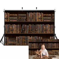 Sfondo materiale Retro Bookshelf per bambini Birthday Artistico Pografia per bambini Vecchia Libreria Librerie Librerie Libreria Vintage Born Baby Shower Pocall