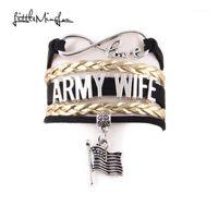 Braclets Charm Little Minglou Infinity Love Army Army Жена Браслет Флаг Замша Кожаные Браслеты Для Женщин Ювелирные Изделия Gift1
