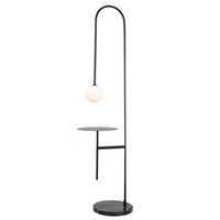 Modern LED Floor Lamp With Round Table White Glass Shade Minimalist Fashion Iron Painted Reading Floor Light For Living Room Bedroom Sofa