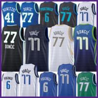 2021 Nova Luka Basketball Jersey 77 Doncic Mens Kristaps 6 Porzingis Malha Retro Dirk 41 Nowitzki Juventude Crianças Roxo