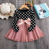 3 6 8 Years Long Sleeve Dress for Kids Girls Dot Autum Baby Birthday Clothes Winter Children Clothing Party Princess Dresses 2345 V2