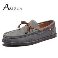 AGSan hombres del cuero genuino ocasional de la borla Barco clásico de los holgazanes deslizamiento en los mocasines de conducción Gris zapatos de los planos de diseño