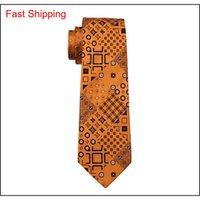 Fashion Men Tie ClassCi Seta Mens Collo Cravatta Gold Tie Set Tie Tie Hanky Gemelli Set Jacquard Tessuto Meeting Busin Qylcbr DH_Seller2010