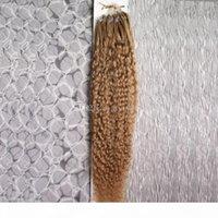 Verworrene lockige Schleife Micro Ring Haar 100% Human Micro Perlen-Verbindungen Maschine gemacht Remy Haarverlängerung 100g
