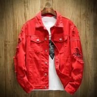 Yüksek Kaliteli Tasarımcı Bombacı Denim Ceket Erkekler Yırtık Dış Giyim Beyaz Jean Ceketler 2021 Sonbahar / Bahar Konfeksiyon Yıkanmış Kadın Erkek Denim Ceket