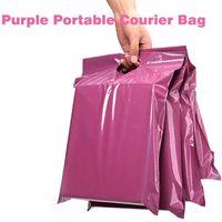 50pcs / lots bolsa de asas púrpura bolso expreso bolsas de mensajeria auto-adhesivo del sello gruesas impermeables de plástico poli sobre de correo Bolsas
