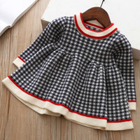New Baby Girls Winter Plaid Sweater Dresses Clothes Toddler ...