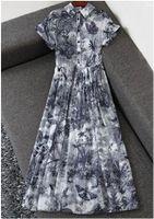 Vintage encre papillon imprimer taille à l'affichage mince dans les longues vacances à grand swing robe de coton à manches courtes Summer Envoyer ceinture