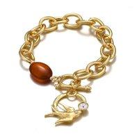 Ссылка, цепь Aensoa мода простая щедрая полые ласточка подвесные браслеты мужчин женские золотые цветные звена браслет личности ювелирные изделия1